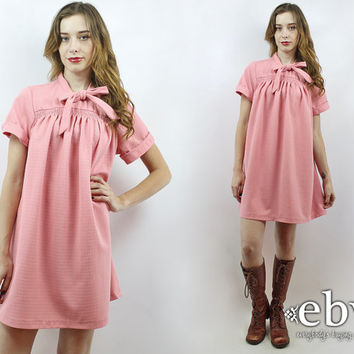 Vintage 70s Pink Bow Tent Dress L XL Pink Dress 1970s Dress 70s Dress Hippie Dress Baby Shower Dress Ascot Bow Dress Ascot Dress
