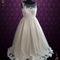 Plus Size Champagne Ball Gown Lace Wedding Dress with Illusion Neckline | Kara