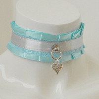 Kitten play collar - Silver heart - ddlg little satin princess choker with front ring - kawaii cute blue and silver bdsm proof necklace
