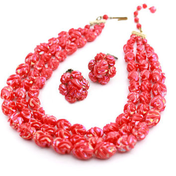 Molded Raspberry Red Three Strand Necklace Earring Set
