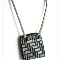 Black Geometric Necklace, Polymer Clay Jewelry, Stocking Stuffer, Retro Necklace, Geometric Jewelry, December Gifts, Christmas Sale, Gifts