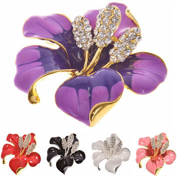 for women Wedding Bridal Brooch Pins Girls Gifts 6 Colors Flowers Enamel Rhinestone Crystal Flower Lily Brooches SM6