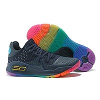 Under Armour Men's SC30 Stephen Curry 4 Low Navy/Rainbow Sport Sneaker