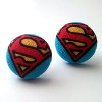 Superman S baby blue and red button earrings by ButtonUpp on Etsy