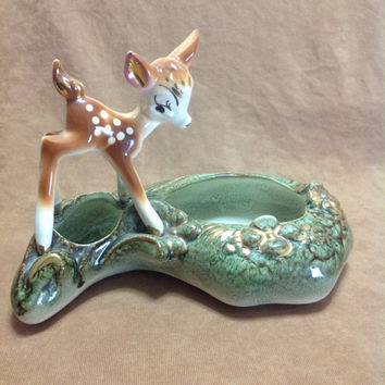 Authentic 1950s Mid Century Walt Disney Bambi Planter In Hard To Find Gold Wash Finish