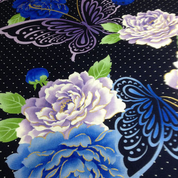 Women's yukata ( summer cotton kimono ) : made to order , blue and pale purple peonies and butterflies pattern