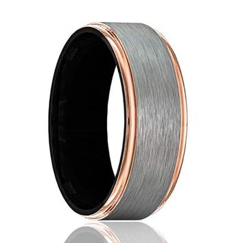 GOLIATH Gray Tungsten Wedding Band for Men with Rose Gold Stepped Edges and Black Interior - 8MM