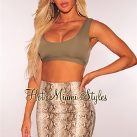 Nude Snake Print Faux Leather Skirt