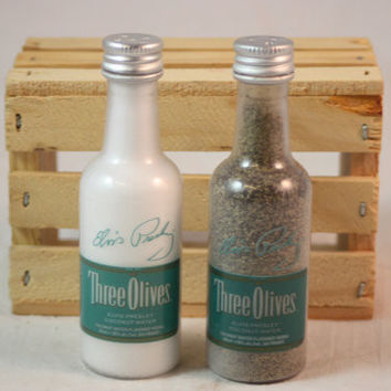 Salt & Pepper Shaker from Upcycled Three Olives Coconut Water Mini Liquor Bottles