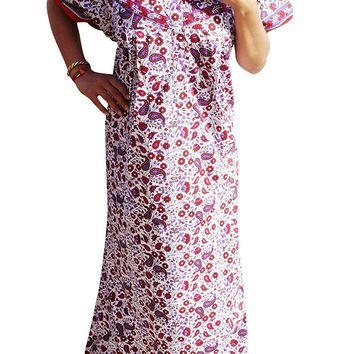 Mogul Interior Womens Caftan Maxi Dress Printed Cotton Summer Nightgown L/XL/2xL: Amazon.ca: Clothing & Accessories