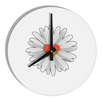 "Pretty Daisy Heart 8"" Round Wall Clock"