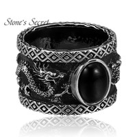 925 Sterling Silver Black Agate Man Realistic Dragon Retro Ring Boyfriend Party Gift
