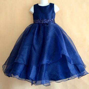 Royal blue/pink color spaghetti straps fluffy tulle ball gown flower girl dresses for weddings evening party