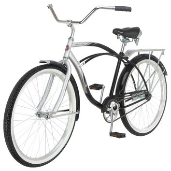 26-inch Silver and Black Men's Beach Cruiser Bike with Fenders