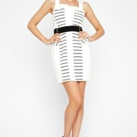 BCBGMAXAZRIA - SHOP BY CATEGORY: DRESSES: VIEW ALL: BCBGENERATION STRIPED-PANEL BELTED DRESS