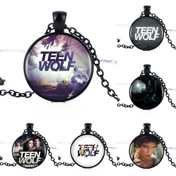 1pcs/lot  Teen Wolf Logo Pendants & Necklace for Woman/Men Cabochon Vintage Black Chain Statement Necklace