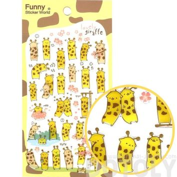 Funny Giraffe Shaped Illustrated Animal Themed Jelly Stickers for Scrapbooking and Decorating