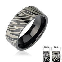 Zebra - FINAL SALE Black IP Band with Zebra Print Black and Stainless Steel Comfort Fit Ring