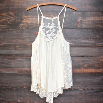 los cabos lace tank in natural