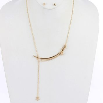 Gold Moon And Star Charm Box Chain Y Necklace