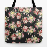 Dark Floral Tote Bag, retro Pink roses, bold, chic floral, travel bag, gift for mom allover print accessories