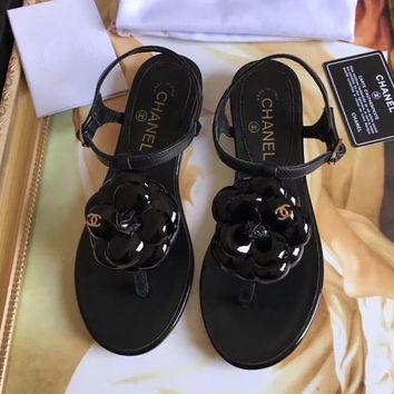 Chanel Women Fashion Camellia Flower Sandals Shoes