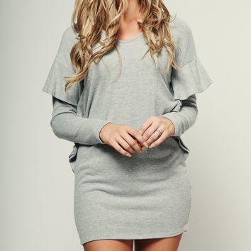 Bewitched Flutter Sleeve Dress (Heather Grey)