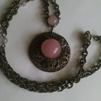 Necklace Pink Moonstones Bronze Chain Vintage Jewelry Jewellery Gift for Her Christmas