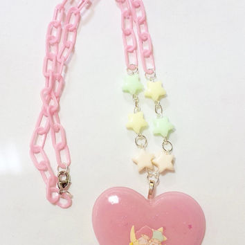Cute Pastel Pink Little Twin Stars Beaded Necklace!