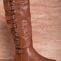 IF Carrini International Fashion Strap Me In Flat Faux Leather 7 Buckle Boots 18-050 - Cognac