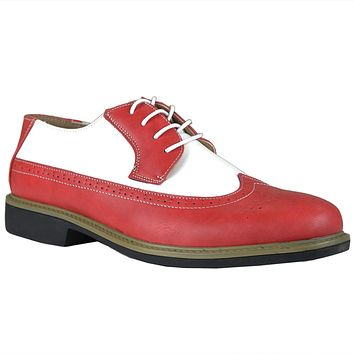 Mens Casual Shoes Lace Up Oxford Derby Two Tone Shoes Red c5359c5b0f