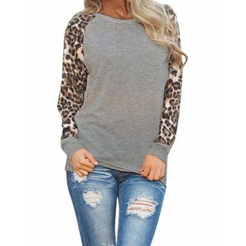 Blouses 2015 Fashion Women Casual Shirts Tops Spring Autumn Long Sleeve Leopard Chiffon Patchwork Casual  Blusas Femininas