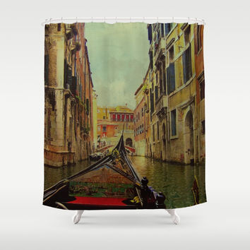 Venice, Italy Canal Gondola View Shower Curtain by Theresa Campbell D'August Art