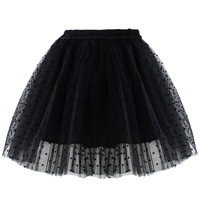 Polka Dots Tulle Skirt in Black Black S/M