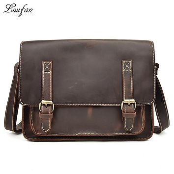 Vintage genuine Leather men shoulder bags Real Crazy horse leather big laptop briefcase messenger bag casual work bag