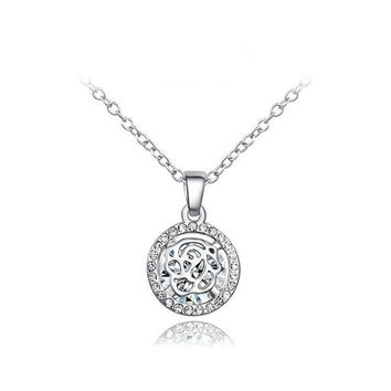 New Arrival Shiny Gift Stylish Hollow Out Jewelry Crystal Necklace [9281911044]