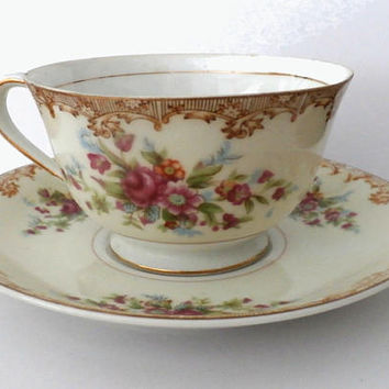 Fine Porcelain Tea Cup Saucer Set Floral Pattern, Vintage Country Roses Cup, Cottage Chic, Taiyo China Made in Japan, Collectibles