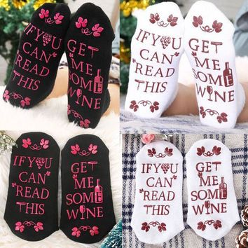 Fashion Women Unisex Beer Socks If You Can Read This Bring Me Some Wine Gift
