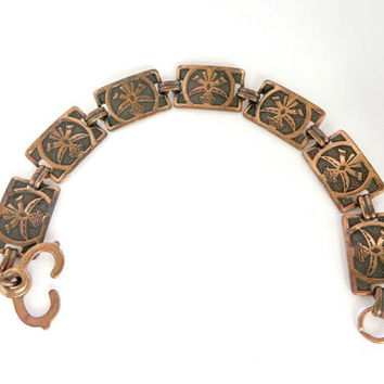 Vintage Copper Link Bracelet, Etched Design, Double Lobster Claw