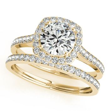 1/2 Ct. Halo Engagement & Wedding Band Set In 14k Solid Rose Gold (1/2ct, I-J Color, I2-I3 Clarity)