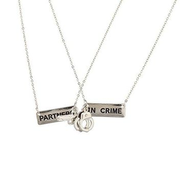 Partners in Crime BFF Best Friends 2 PC Chain Charm Necklace SET