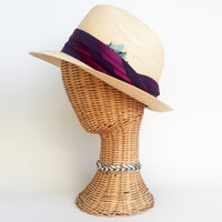 70s Hat Vintage Straw Trillby / Fedora 70s Hat Faux Straw Hat Tan Hat Dandy Hat Purple Silk Band Blue Feather Size 7 1/8 USA Made