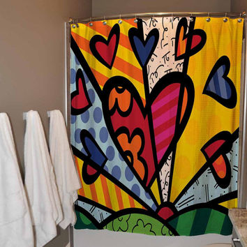 Romero Britto Love pattern Shower Curtain