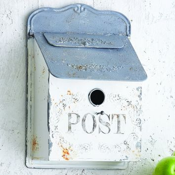 Vintage Post Mailbox Birdhouse - White and Gray -- 16-in