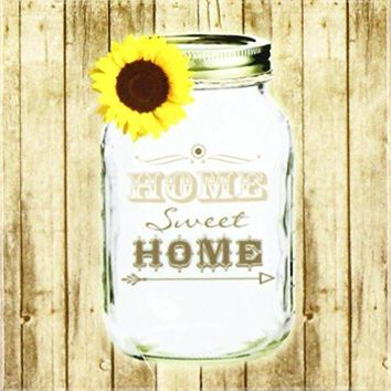 3dRose cst1285553 Country Rustic Mason Jar with Sunflower Home Sweet Home Ceramic Tile Coasters Set of 4