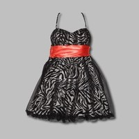 Speechless- -Junior's Dress Spaghetti Strap Zebra Pattern Layered Black/Coral-Clothing-Juniors-Dresses