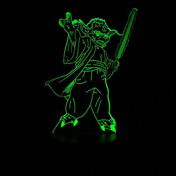 HOT SALE Star War 3D LED USB LED Lamp Vader Figure Master Yoda Jedi Leader Sword Warrior Multicolor Night Light Table Decorative