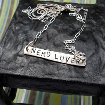 NERD LOVER text box... stamped sterling silver necklace