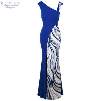 Angel-fashions Women's Formal Evening Dresses Asymmetric V neck Splicing Sequin Slit Mermaid Party Gown Blue White 401