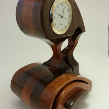 Artistic Desk Clock with business card size drawer